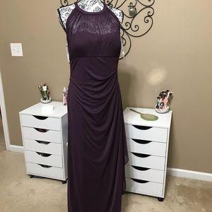 David's Bridal Plum Bridesmaid Formal Gown